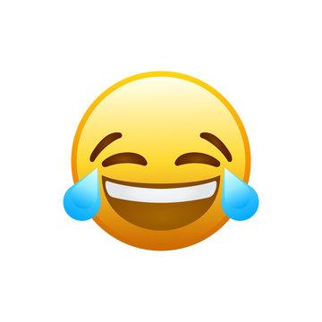 Laughing social media emoji. Vector Illustration