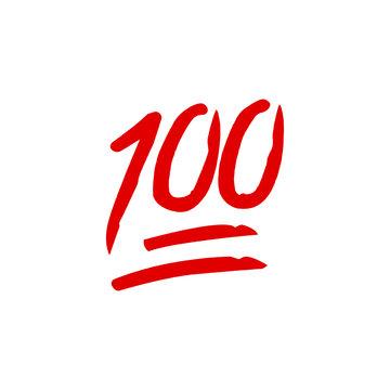 Hundred points emoji. Red hundred symbol modern, simple, vector, icon for website design, mobile app, ui. Vector Illustration