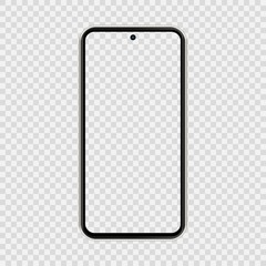 realistic smartphone The shape of a modern mobile phone Designed 2020 to have a thin edge punch hole camera. mockup empty screen, isolated on transparent background. vector illustration.