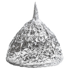 Foil hat on white background