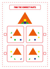 Find The Correct Parts Game. Educational exercises for kids. Worksheets for practicing analytic skills of children. Useful printable games for preschool and kindergarten. Preschool curriculum.