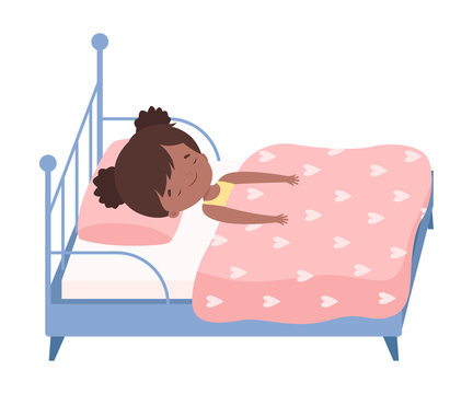Cute Little Girl Sleeping Sweetly in Her Bed under Blanket Vector Illustration