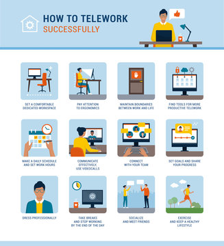 How to work from home successfully infographic with tips
