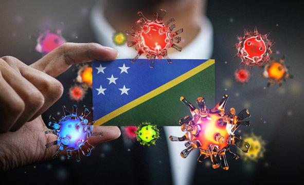 Corona Virus Around Solomon Islands Flag. Concept Pandemic Outbreak in Country