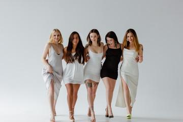 Five women on white background