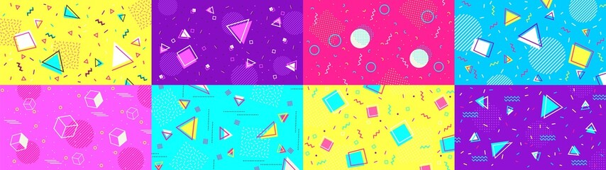Funky 90s memphis background. Abstract hipster shapes and funky geometric patterns, 1980s pop backdrop vector illustration set. Background fashionable trendy, graphic creative geometric