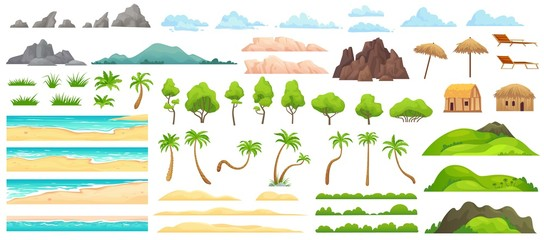 Beach landscape constructor. Sandy beaches, tropical palms, mountains and hills. Ocean horizon, clouds and green trees cartoon vector illustration set. Nature beach landscape constructor Wall mural