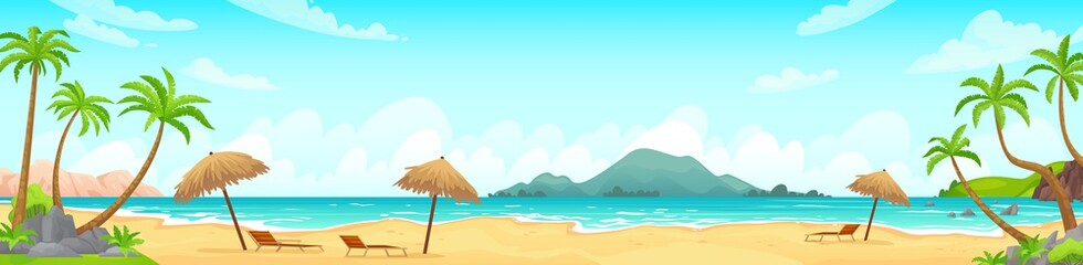 Deurstickers Lichtblauw Daytime beach landscape. Sandy beaches with tropical palms. Sunny day, on beautiful sunset, sunrise and at night cartoon vector illustration. Landscape outdoor, travel scene daytime, vacation tropical
