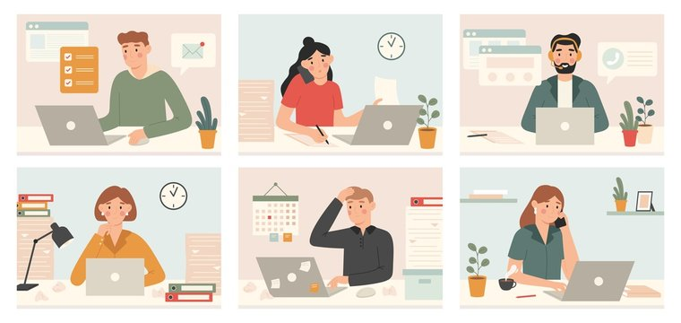 Busy workers work with laptop. Deadline, tired overworked people with too many tasks and office work processes vector illustration set. Employee stress and tired, job manager workspace