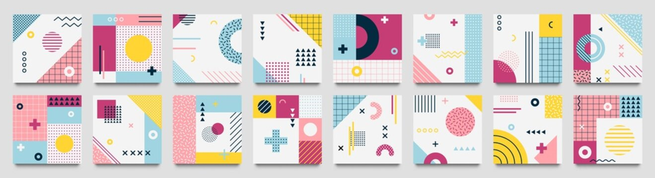 Abstract neo memphis geometric patterns. Geo grid square, color modern geometrical background with lines and dotted pattern vector set. Illustration of collection banner with dotted square background