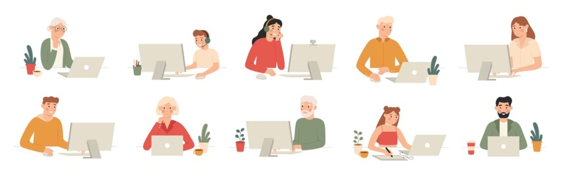 People work with computers. Students work with laptop and computer, office workers and seniors with laptops cartoon vector set. Man workplace at computer or laptop, office work illustration