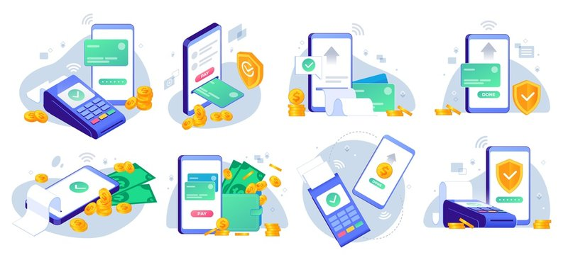 Mobile payments. Online sending money from mobile wallet to bank card, golden coins transfer app and e payment vector illustration set. Mobile payment, business finance pay, transaction online
