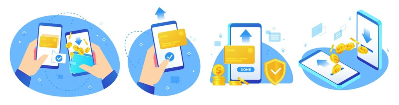 Money transfers. Online shopping, digital payments and hand handing phone with coins transfer app vector illustration set. Payment business, finance shopping label collection