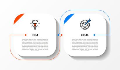 Fototapeta Infographic design template. Creative concept with 2 steps obraz