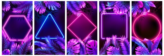 Tropical neon frames. Bright glowing leaves, cyber floral frame and leafs in neon lights vector background set. Neon frame tropical, palm leaf poster illustration