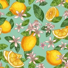 Wall Mural - Lemon blossom seamless pattern. Hand drawn yellow lemons with green leaves and citrus flowers. Botanical garden fruits vector illustration. Lemon seamless blossom, wallpaper background repeat
