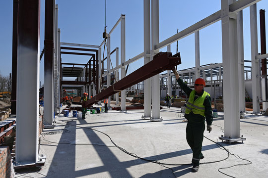 Builders work at the construction site of a multifunctional medical center of the Russian Defence Ministry for coronavirus disease (COVID-19) patients, in Rostov-on-Don