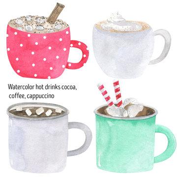 Hot drinks watercolor cocoa, cappuccino, coffee, tea, latte, hot chocolate