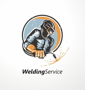 Industrial worker with welding mask holding welding machine. Logo design idea with welder and sparks. Metal industry symbol graphic. Vector icon.