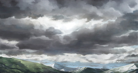 Cloudy sky , Overcast sky - 2D painting background. Fotobehang