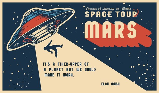 Space vintage colorful horizontal poster