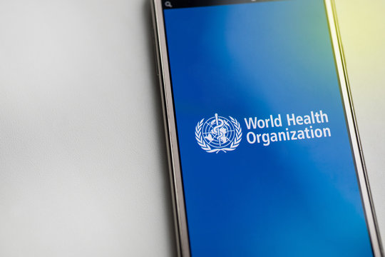 Minsk,Belarus -april 09 2020. View of World Health Organization icon .