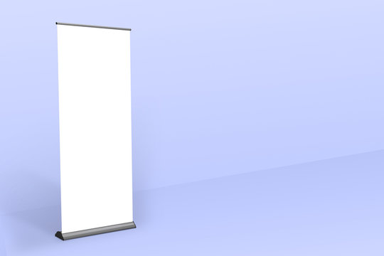 Rollup banner standee mockup blue color background