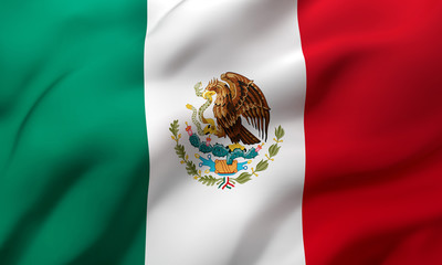 Flag of Mexico blowing in the wind. Full page Mexican flying flag. 3D illustration.