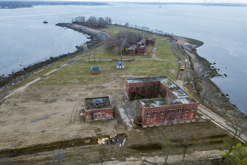 Drone pictures show bodies being buried on New York's Hart Island, where the department of corrections is dealing with more burials overall, amid the coronavirus disease (COVID-19) outbreak in New York City