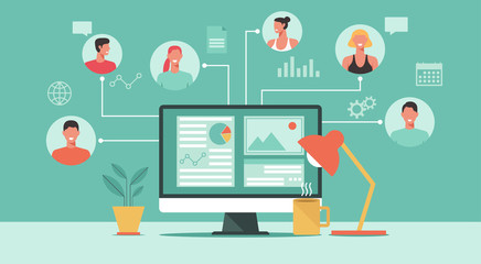 people connecting and working online together on computer, remote working, work from home and work from anywhere concept, vector flat illustration Wall mural