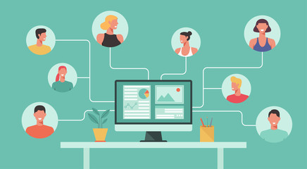 people with different and expert skills connecting and working online together on computer, remote working, work from home, work from anywhere, new normal concept, vector flat illustration