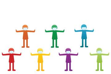 People during the coronovirus epidemic. - pictogram. Vector illustration