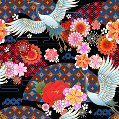 Seamless spring japanese pattern with classic floral motif,fans and cranes