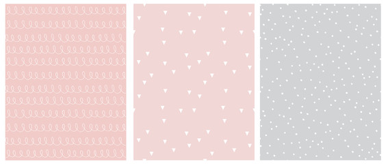 Abstract Hand Drawn Childish Style Seamless Vector Patterns. White Lines with Loops, Tiny Triangles and Little Polka Dots Isolated on a Various Pink and Light Gray Backgrounds.Simple Geometric Print.