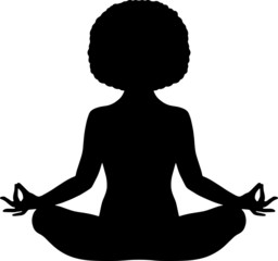 Black woman meditating with natural afro hair vector illustration