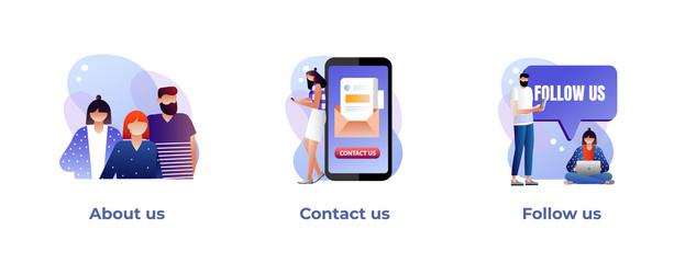 About us, contact us, follow us metaphors