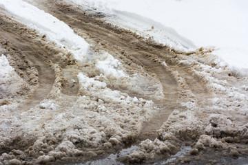 Obraz Chlapa śnieg i sól na drodze - fototapety do salonu
