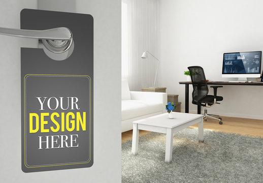 Do Not Disturb Door Hanger Mockup with Home Office Background