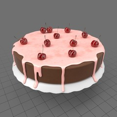 Chocolate cake with cherry topping