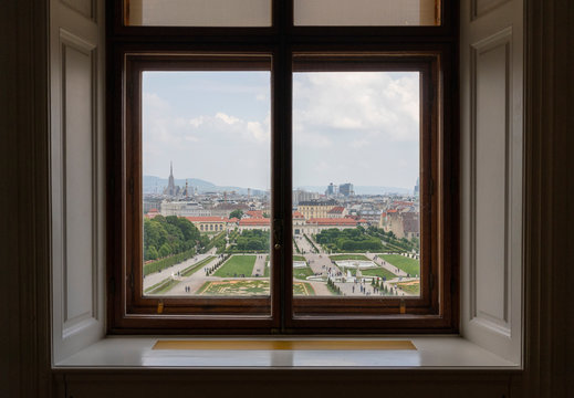 View of the Belvedere park from the window, Vienna
