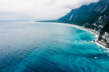 Aerial view of ocean and cliff in Taiwan Wall mural