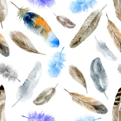 Feathers pattern white Watercolor seamless pattern with feathers. For design, packaging, fabric, textile.