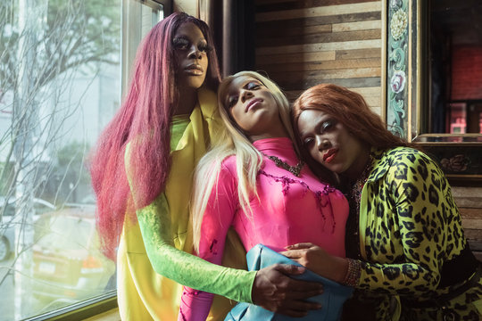 Portrait of Group of Drag Queens in a Bar