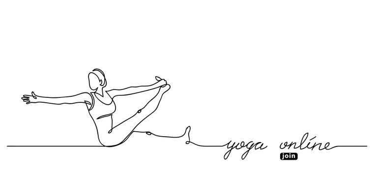 Yoga online lettering. Vector web banner with woman illustration. Join button. Simple yoga background.One continuous line drawing.