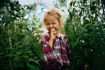 Girl eating fresh cucumber in greenhouse