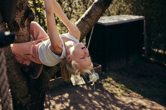 Girl swinging from a branch
