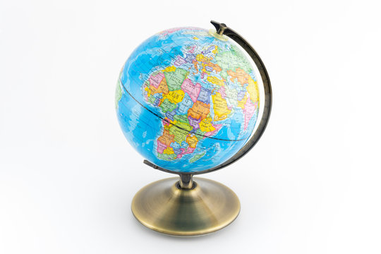 Earth globe with continents maps