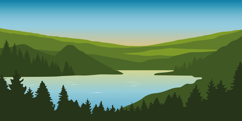 big river nature landscape outdoor adventure in summer vector illustration EPS10 Wall mural
