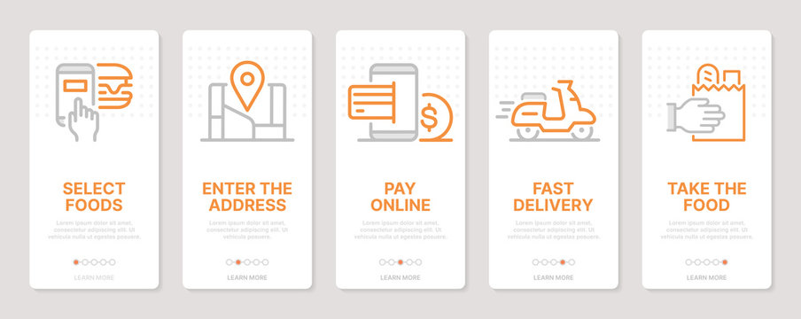 Food delivery related vertical cards. Mobile app onboarding screens Templates for a website. Icons with editable stroke