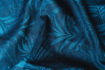 Blue checkered fabric closeup , tablecloth texture.
